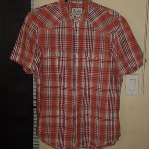 NWOT Lucky Brand Madras Pattern Western SS Shirt